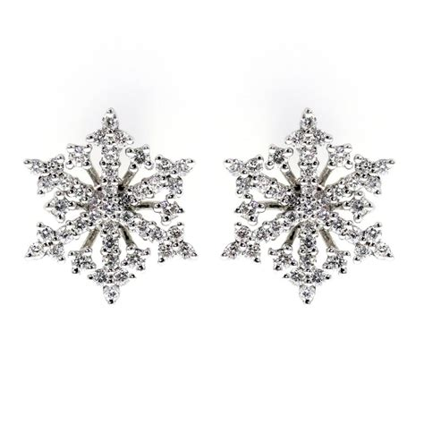 18ct white gold 0 57ct snowflake stud earrings