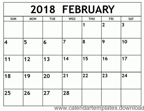 printable calendar february 2018 template download free