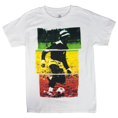 bob marley colors bob marley soccer 77 rasta tri color white t shirt s