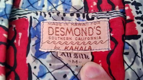 Desmond S   vintage aloha shirts desmond s of southern california by