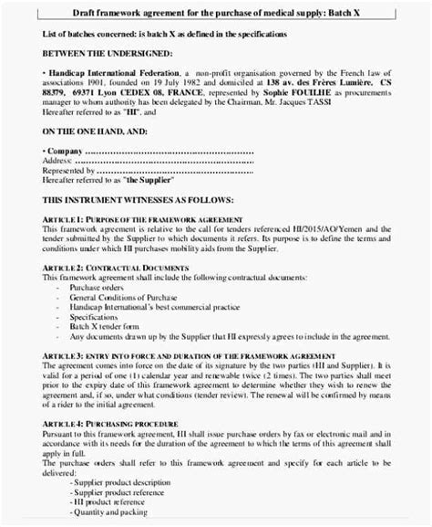 framework agreement template draft framework agreement template sle templates