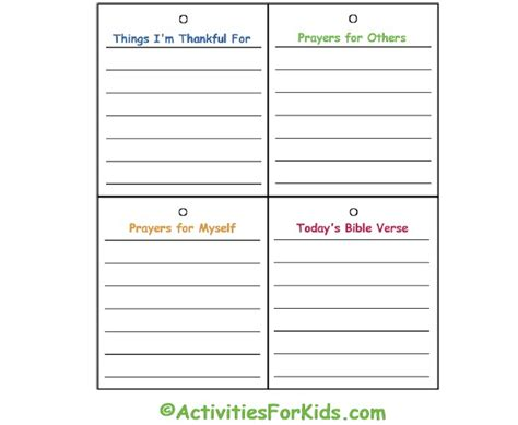 child s prayer journal activities for kids
