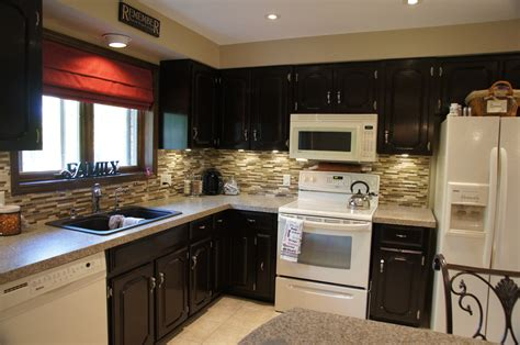 stain oak kitchen cabinets black cabinets white appliances home design