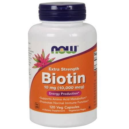 Mg Cheese now biotin 10 mg 10 000 mcg strength 120 veg capsules gta nutrition
