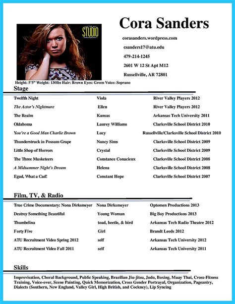 Actor Resume Template by Actor Resume Template Gives You More Options On How To