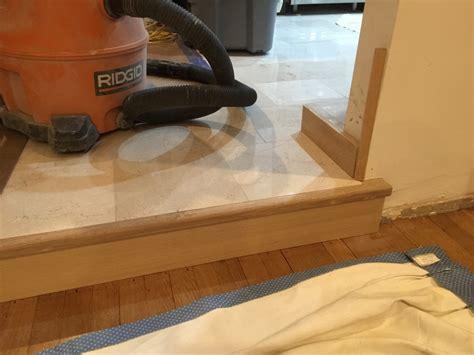 Marble Step Transition Into Sunken Living Room   Flooring