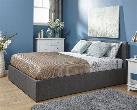 4ft headboards shop gfw side open grey fabric ottoman small double 4ft bedframe