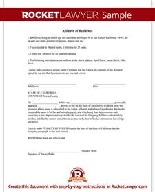 Certification Letter Of Residency Affidavit Of Residence Form Residency Affidavit Sample