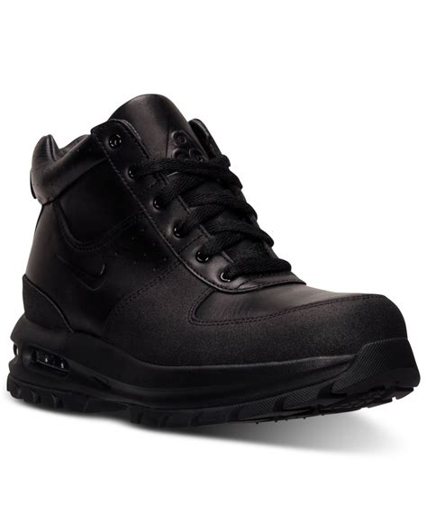 black nike boots mens nike air max goaterra leather boots in black for lyst