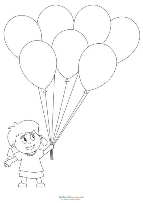 Balloons Coloring Pages Preschool | free basket with balloons coloring pages