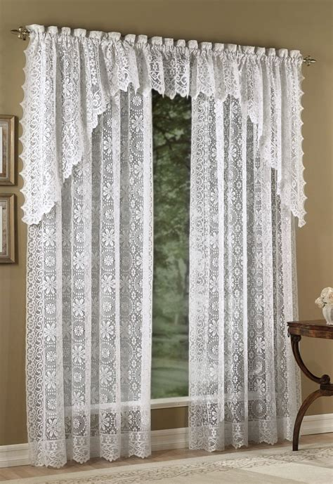 White Valance Curtains Hopewell Lace Curtain Panels White Lorraine White Curtains