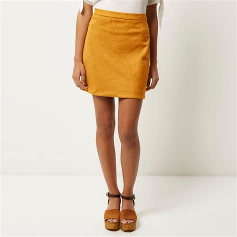 mustard color skirt lyst river island mustard yellow faux suede mini skirt