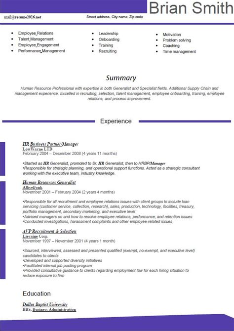 resume exles 2016 new resume format 2016 hr manager violet summary experience