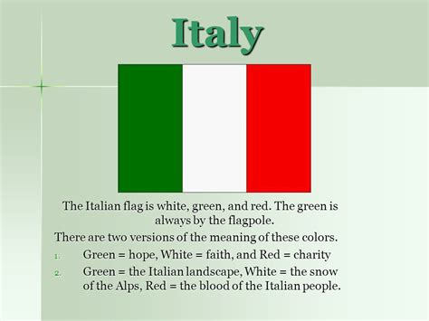 what color is the italian flag italy the italian flag is white green and the green