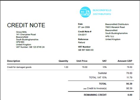 Vat Credit Note Template Blank Credit Note Blankinvoice Org