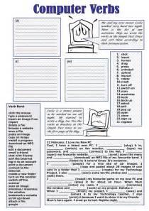 computer verbs worksheet free esl printable worksheets