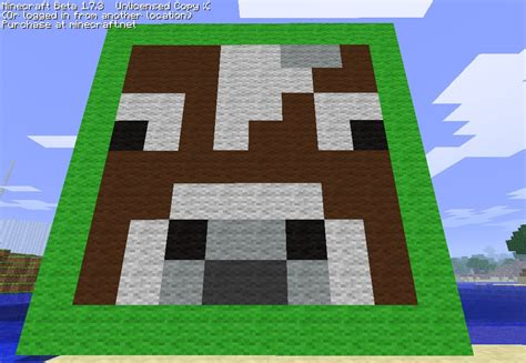 cow face pixel art minecraft project