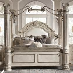 Large Canopy Bedroom Sets Aico Monte Carlo Ii Silver Pearl Canopy Bed Only 1