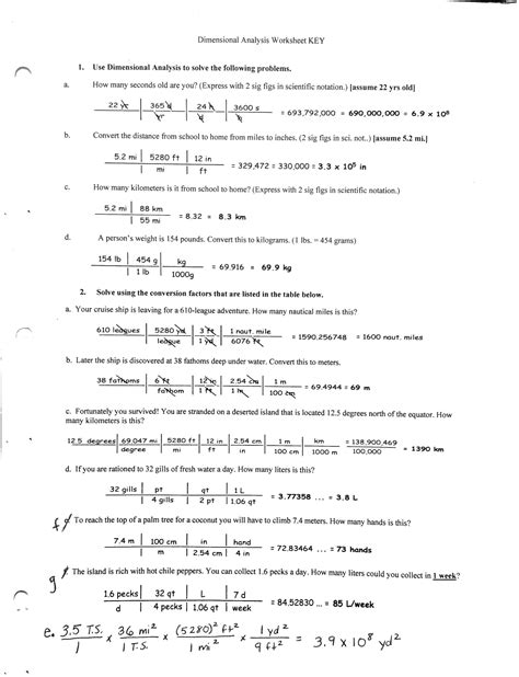 Chemistry Dimensional Analysis Worksheet by 18 Best Images Of Metric Conversion Worksheets High School