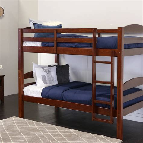 bunk bed wood mainstays twin over twin wood bunk bed multiple finishes walmart com