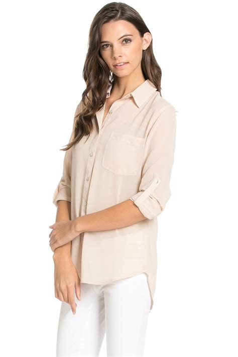 S Chiffon Button Blouse by Roll Up Sleeve Button Taupe2 Chiffon Blouse My Yuccie