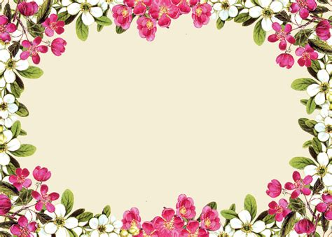 printable borders with flowers pink floral borders free digital flower frame png and