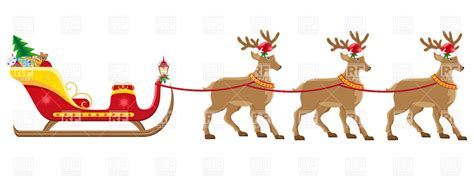 best art of santa and eight teindeer sleigh clipart 37