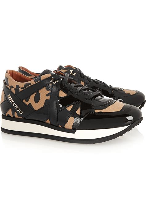 leopard print canvas sneakers jimmy choo leopard print canvas and patent leather