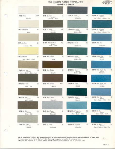 dupont interior paint paint chips 1967 buick chevrolet corvette oldsmobile pontiac