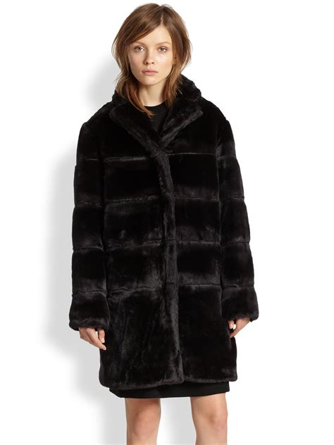 Quilted Fur Coat by Marc By Marc Quilted Faux Fur Coat In Black Lyst