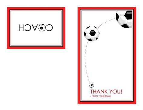 Football Thank You Card Template Free by Thank You Card For Soccer Coach Quarter Fold Templates