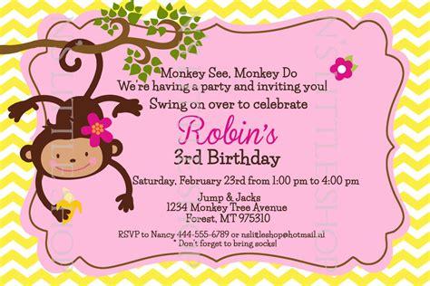 printable birthday cards with monkeys monkey love party inspired birthday invitation card
