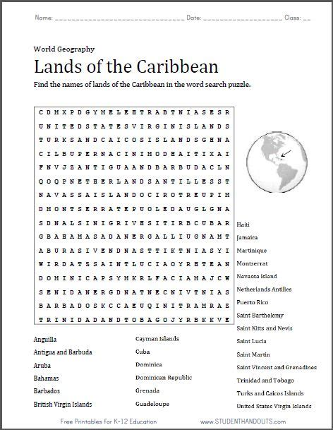 printable word search for language arts caribbean word search puzzle free to print pdf file