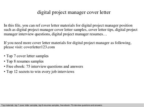 Digital Manager Cover Letter by Digital Project Manager Cover Letter