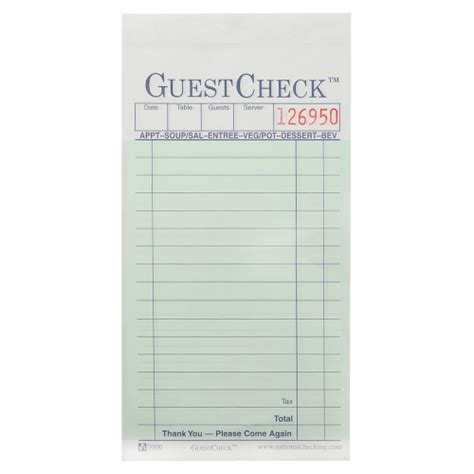 restaurant guest check template national checking company