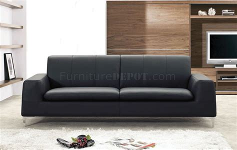 Black Or White Leather Contemporary Sofa Black Leather Contemporary Sofa