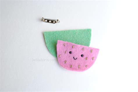 felt watermelon pattern fun fruity felt brooches sewing pattern delilah iris