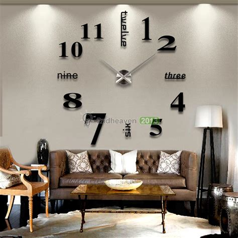 oversized home decor modern diy large wall clock 3d mirror effect sticker decal