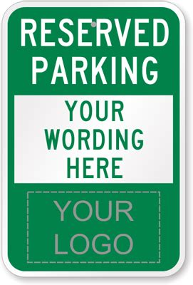 reserved parking template custom logo signs
