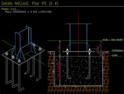 base anchor stell structure detail dwg detail
