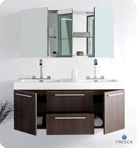 Fresca Opulento Gray Oak Modern Double Sink Bathroom Modern Sink Cabinets For Bathrooms
