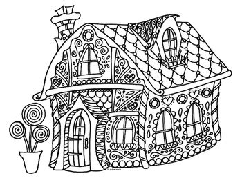 detailed gingerbread house coloring pages winter holiday gingerbread house zentangle coloring page