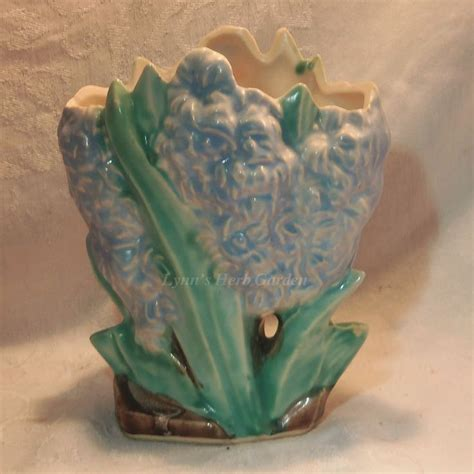 mccoy pottery hyacinth vintage flower vase handpainted