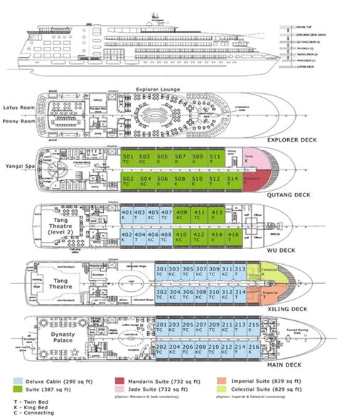 cruise ship floor plan deck plan of yangzi explorer