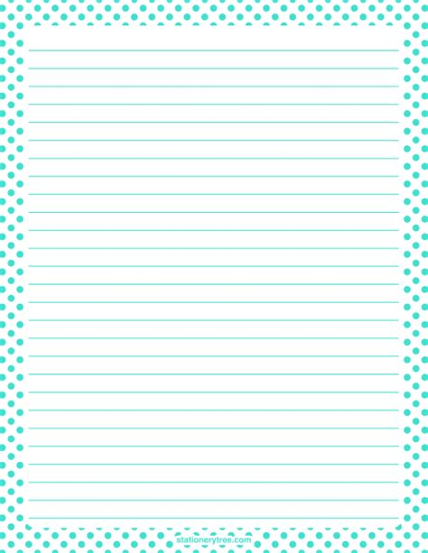 printable polka dot stationery printable turquoise polka dot stationery