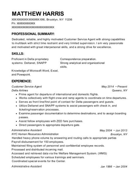 Resume Help New York delta airlines inc customer service resume sle