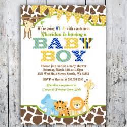 Safari baby shower invitations jungle animal by bigdayinvitations