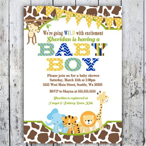 Safari Baby Shower Invitations by Safari Baby Shower Invitations Jungle Animal By