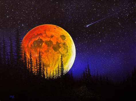 bob ross painting moon s harvest moon painting by chris