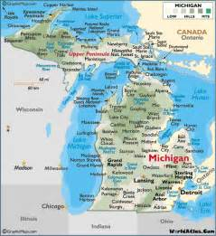 michigan colors map of michigan large color map